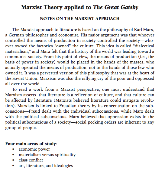 The Great Gatsby Through a Marxist Literary Criticism Lens
